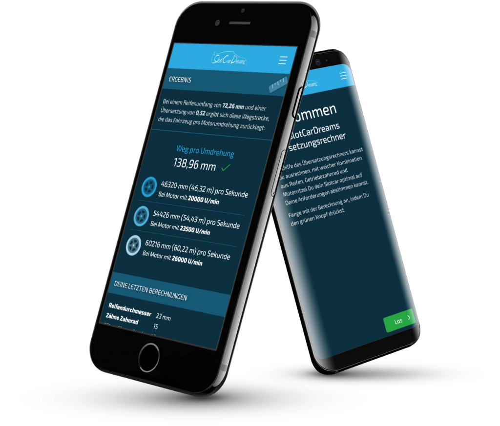 SlotCarDreams Getrieberechner, Mobile App für Kunden auf iOS und Android